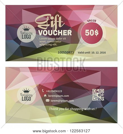 Gift Voucher Template in Trendy Abstract Style. Gift Voucher on Geometric Triangle Modern Background. Front Side of Gift Voucher and Back Side. Gift Certificate. Vector illustration.