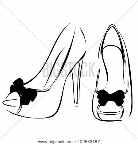 an abstract outline of high heels on a neutral background