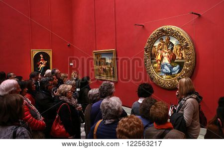 FLORENCE, ITALY, OCTOBER 25, 2015 : interiors and details of the Uffizi, october 25, 2015 in Florence, Italy