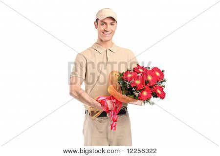 A Delivery Man Delivering A Bunch Of Flowers