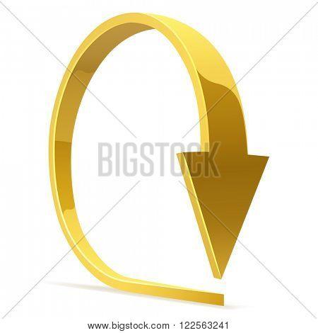 Golden bent arrow - download icon.
