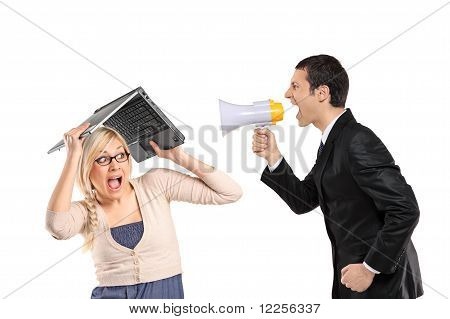 Mad Man Yelling Via Megaphone And Woman Covering His Head