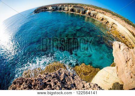 Sea caves near Cape Greco. Ayia Napa Cyprus.