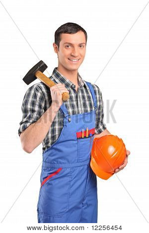Male Worker Wearing Blue Overall With A Hammer And Helmet
