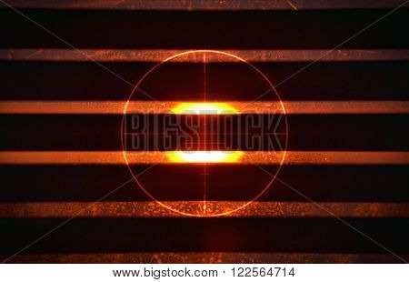 Red circle and bright sunlight in the background