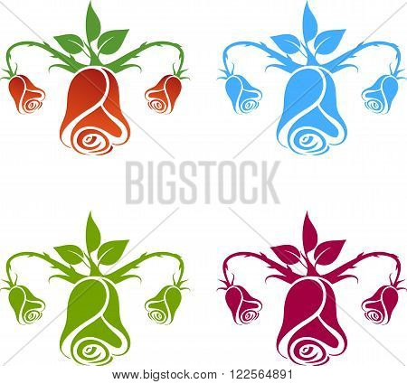 Gynecology logo flowers on the white background
