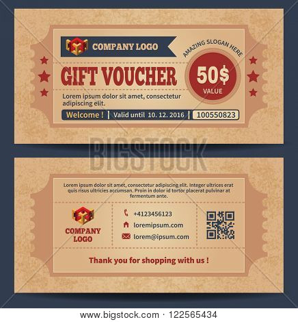 Gift Voucher Template in Trendy Retro Style. Gift Voucher on Grunge Textured Background. Front Side of Gift Voucher and Back Side. Gift Certificate. Vector illustration.