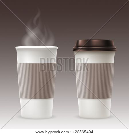 Set of Disposable Paper Cups with Plastic Covers and Sleeve to Take-out. Open and Closed Paper Cup. Realistic Vector Illustration.