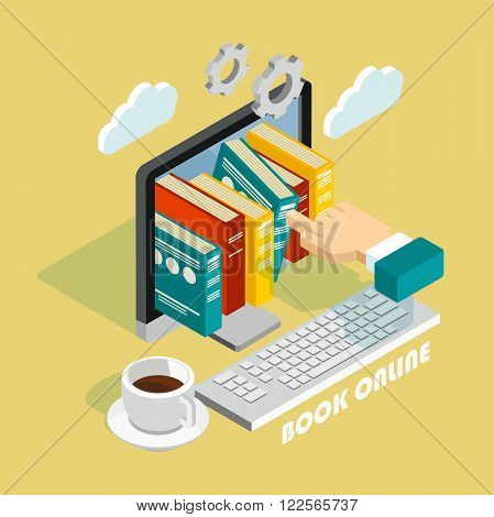 Isometric book online concept. Flat poster with notation and markers. Vector illustration