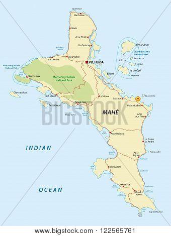 map of Mahe, the main island of the Seychelles