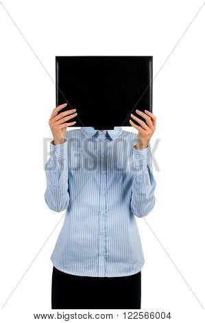 Businesswoman covering face with folder. Black folder covering woman's face. Everyone has secrets. Use intuition and recognize her.