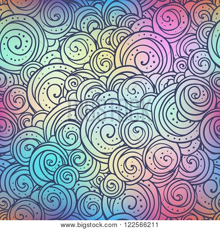 Circules ethno doodle pattern on blurred colorful background. Boho style vector illustration.
