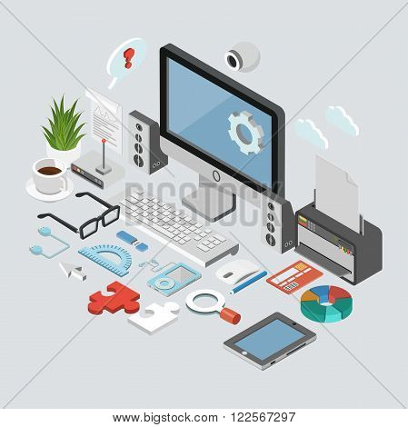 Isometric business concept. Flat poster with notation and markers. Vector illustration