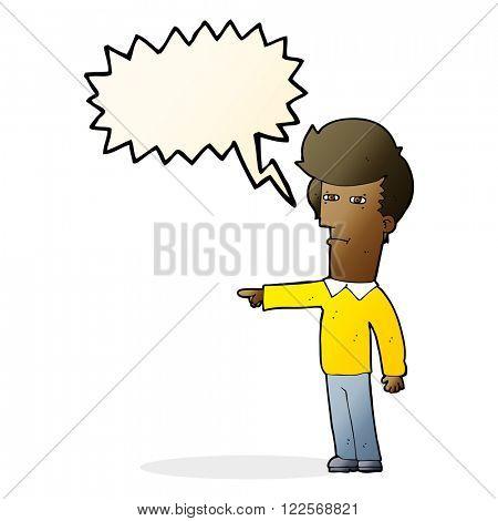 cartoon man blaming with speech bubble