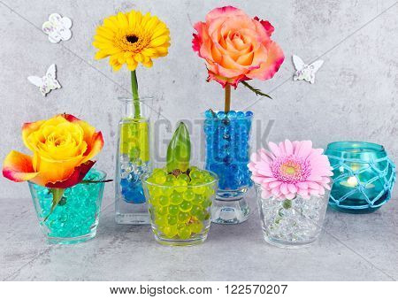 Decoration with flowers and colored beads hydro