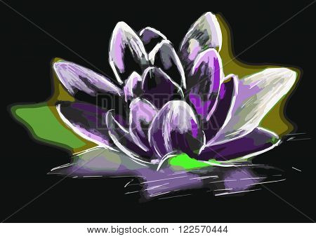 Digital Modern Art.Beautiful Lily - stylized image suitable for interior design, advertising and printing