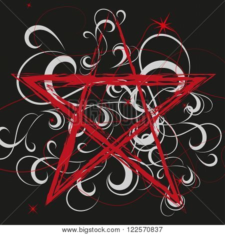 a red pentagram on a dark background with white pattern