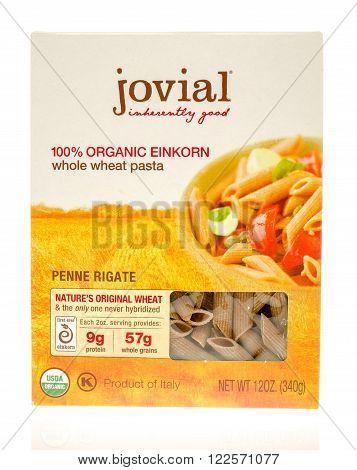Winneconne WI - 19 Nov 2015: Box of Jovial 100% organci whole wheat pasta
