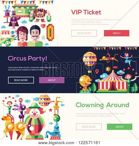 Set of vector modern flat design circus and carnival website headers, banners set with icons and infographics elements