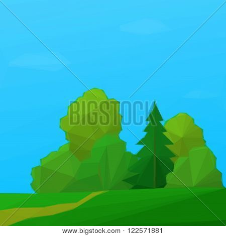 Summer Low Poly Landscape, Forest with Coniferous and Deciduous Trees and Blue Sky with Clouds. Vector