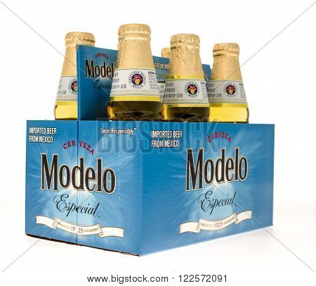 Winneconne WI -15 Oct 2015: Six pack of Modelo Especial beer.