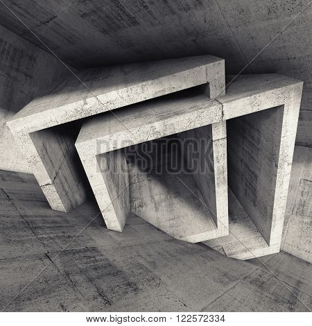 Abstract 3 D Render, Concrete Room Interior