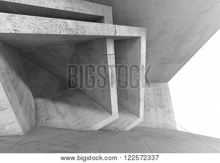 Abstract 3 D Concrete Room Interior