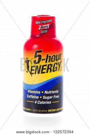 Winneconne WI - 21 February 2015: Bottle of 5-hour energy drink in berry flavor.