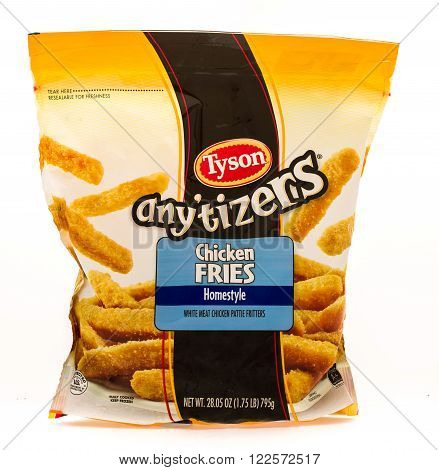 Winneconne WI - 18 August 2015: Bag of Tyson any'tizers chicken fries.