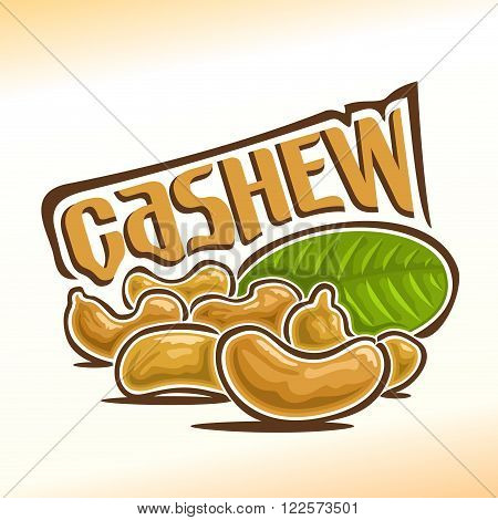 Vector illustration on the theme of the logo for cashew nuts, consisting of six peeled cashew nutlets foreground and green leaf in the background
