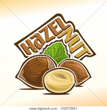 Vector illustration on the theme of the logo for hazelnut nuts, consisting of peeled half hazelnut nutlet and two nuts in the nutshell and green leaf in the background