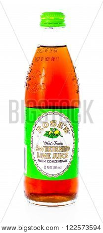 Winneconne WI - 21 February 2015: Bottle of Rose's Sweetened Lime Juice used in mixing alcohol beverage.