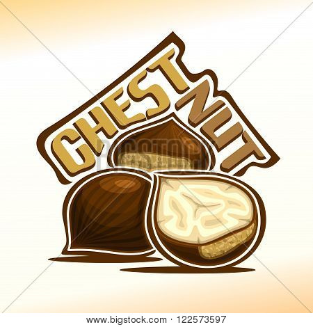 Vector illustration on the theme of the logo for chestnut nuts, consisting of peeled half chestnut nutlets and two nuts without shell