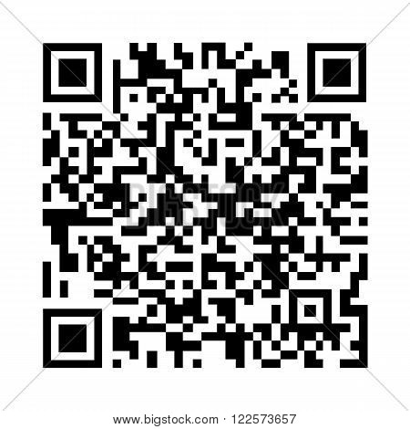 an outline of a black and white QR Code