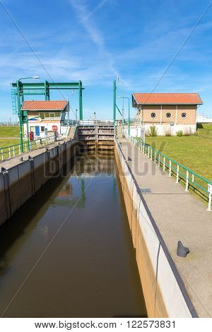 Water management Lemster sluice in Friesland Holland europe
