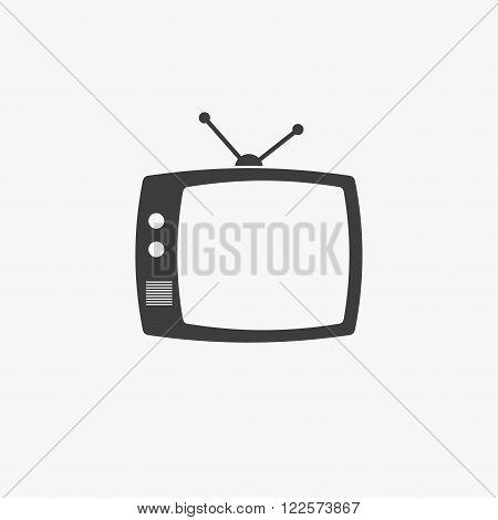 TV icon isolated on grey background. TV icon flat style. Black TV icon vector illustration