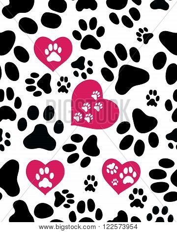 Seamless pattern with silhouettes of paws of cats on white, vector illustration