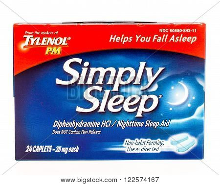 Winneconne WI -28 Sept 2015: Box of Simply sleep tablets.