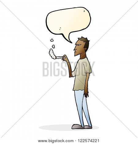 cartoon annoyed smoker with speech bubble