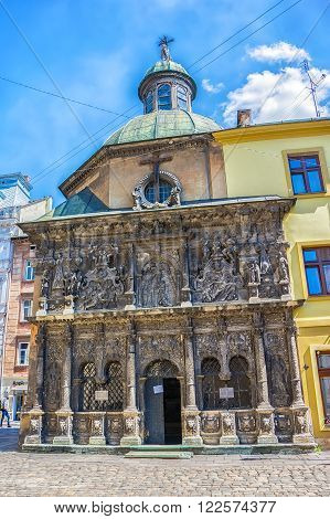 Lviv Ukraine - August 19 2015: Chapel of the Boim family. Lviv city center