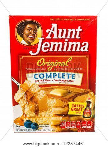 Winneconne WI - 5 February 2015: Box of Aunt Jemima Original pancake mix. Just add water to prepare.