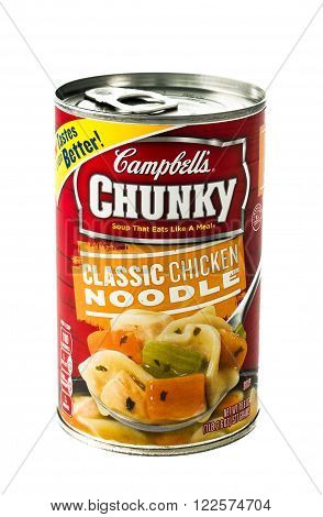 Winneconne WI - 5 February 2015: Can of Campbell's Chunky Classic Chicken Noodle soup.