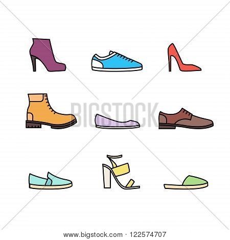 Color linear shoes icon set isolated on white background. Vector illustration
