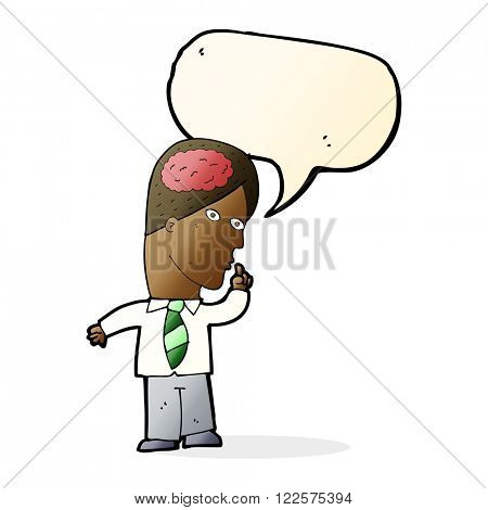 cartoon businessman with huge brain with speech bubble