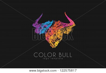 Bull logo design. Color bull. Crealive animal logo.