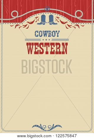 American Cowboy Poster For Text.vector Background With Decoration