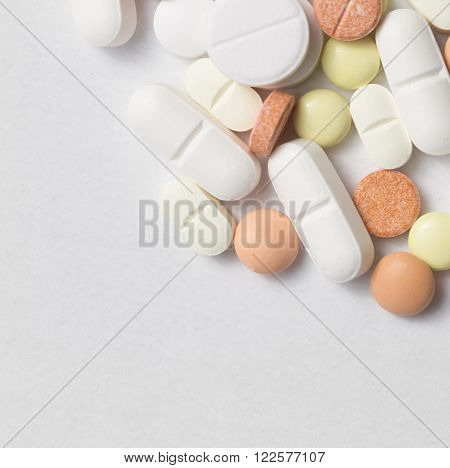 different Tablets pills capsule heap mix therapy drugs doctor flu antibiotic pharmacy medicine medical