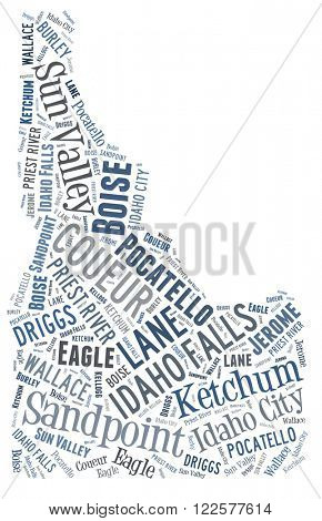 Word Cloud showing various cities in the state of Idaho