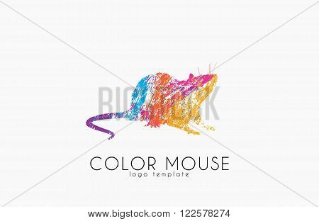 Mouse logo. Color mouse. Little mouse. Creative logo design.