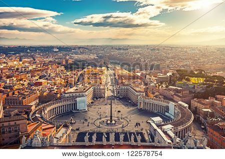 Saint Peter's Square in Vatican and aerial view of Rome